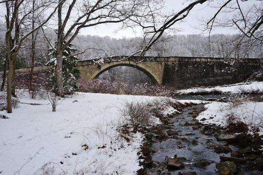 Snowy Day at Casselman River Bridge State Park