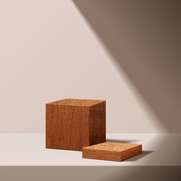 minimal scene with geometrical forms.  wood podium with sun light. Empty pedestal platform for award, product presentation, mock up background, stand,  Podium, stage pedestal or platform illuminated.