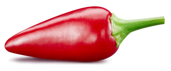 Canvas Prints Hot chili peppers Fresh red peppers isolated on white background. Red hot natural chili pepper clipping path. Fresh organic fruit. Full depth of field