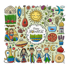 Nowruz, holiday of arrival of spring. Holiday symbols, people, food, customs and traditions. Gift card design