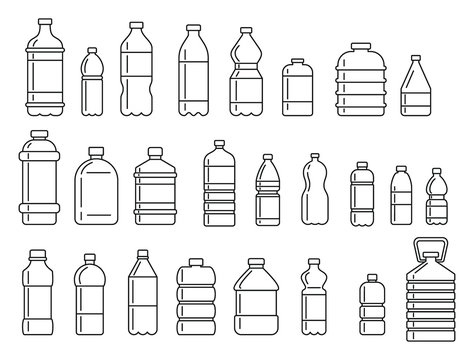 Plastic bottles for water outline icons set. Vector Plastic bottles for water outline collection isolated on white background for web and advertising