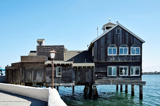 Classical style restaurant, Seaport Village, San Diego, California USA
