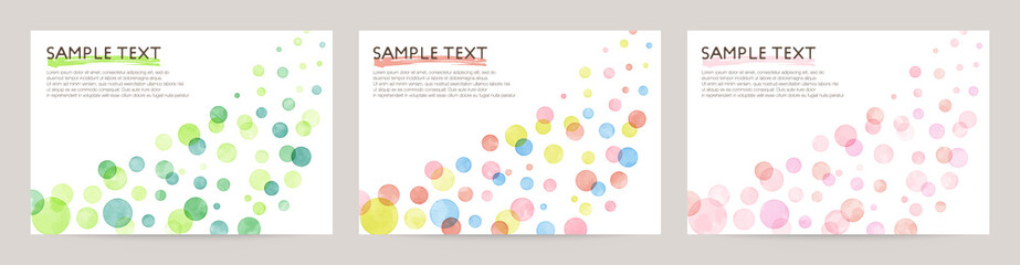 Set of colorful vector watercolor backgrounds with white space for text. Set of cards for wedding, greetings, birthday. backgrounds for web banners design. Wall mural