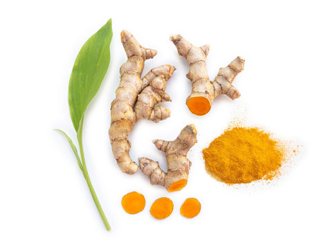 turmeric powder and turmeric rhizome and slice or curcuma longa with leaf and use as ingredients cosmetics products and is a anti inflammatory and antioxidant, including is a herb use for health care.