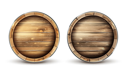 Wooden barrels for wine, beer or whiskey set top view. Realistic cask made of oak wood, keg for rum or cognac isolated on white background. Roll containers for liquid, realistic 3d vector clip art