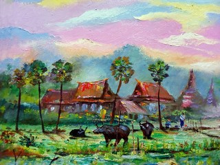 Wall Murals Purple Art painting Oil color Hut northeast Thailand Countryside