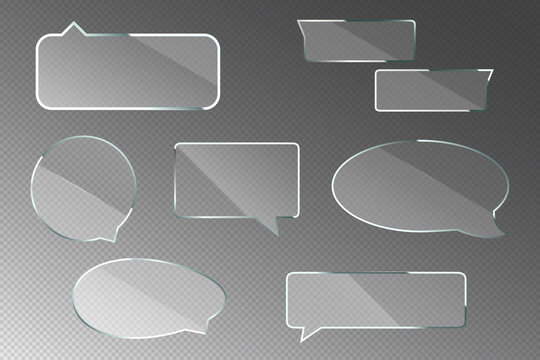 Glass speech bubbles with metal frame isolated on transparent background. Vector realistic set of clear acrylic thought clouds for chat dialog, social communication, message or quote