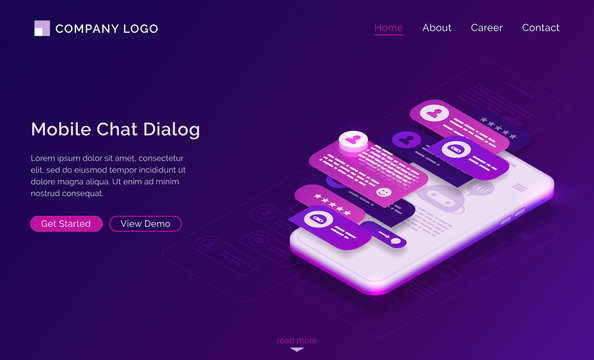 Mobile chat dialog application interface. UI UX design of messenger app. Vector landing page with isometric illustration of smartphone screen with speech bubbles in dialog with chatbot