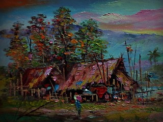 Spoed Fotobehang Bruin Art painting Oil color Hut northeast Thailand Countryside