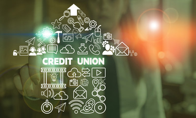 Handwriting text Credit Union. Conceptual photo cooperative association that makes small loans to members