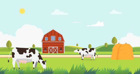 Meadow landscape with farm and cow eating grass vector illustration.Farm with cows and hays.Landscape with farm.Nature farm in summer