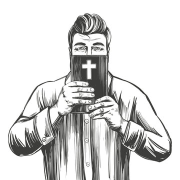 man protects his face with the Bible , salvation is in God 's word, hands holding the Holy Bible, gospel, symbol of Christianity hand drawn vector illustration sketch