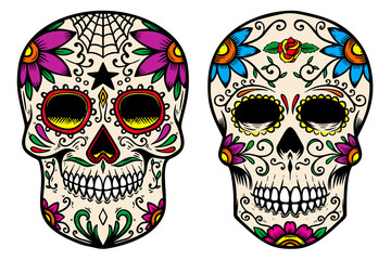 Set of vintage mexican sugar skull isolated on white background. Design element for logo, label, sign, poster