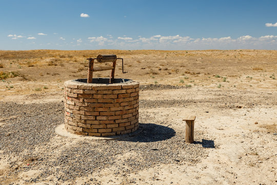 water well in the steppes of Kazakhstan, Turkestan, archeological town Sawran or Sauran.