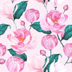 Canvas Prints Pattern Pink peony patterns seamless vector illustration for wallpaper, textile, fabric prints and wrapping papers