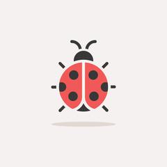 Fototapeta Ladybug. Color icon with shadow. Animal vector illustration obraz