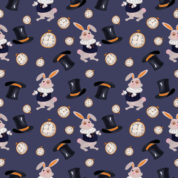 Vector seamless pattern inspired by Alice in Wonderland with rabbit, stovepipe hat and clock
