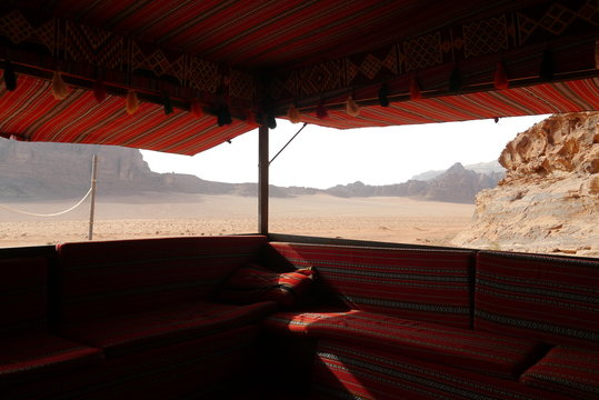 view from a typical Bedouin tent, Wadi Rum Village, kingdom Jordan, Middle East