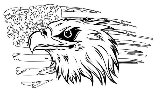 american bald eagle illustration vector against flag