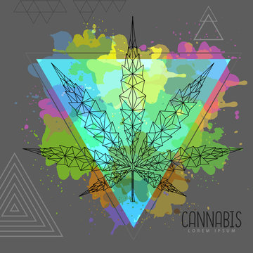 Geometric cannabis leaf silhouette on artistic watercolor triangle background. Vector illustration