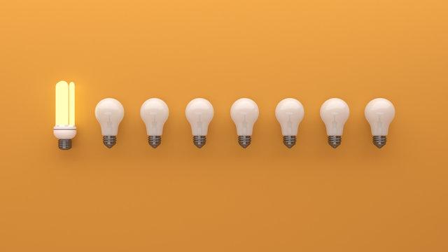 d rendering light blub. Difference light blub icon model.
