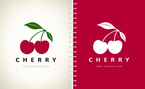 Cherry logo vector. Food berry design.