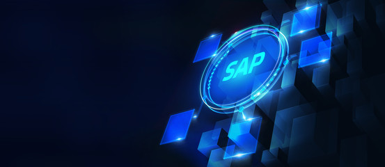 SAP System Software Automation concept on virtual screen data center. Business, modern technology, internet and networking concept