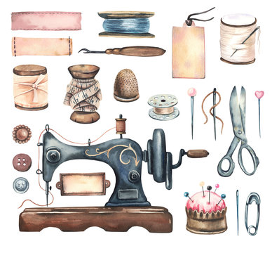 Watercolor hand painted sewing collection- sewing machine, ribbons, needle, thread, scissors in vintage\retro stile. Set of sewing elements. Big collection watercolor sewing elements.