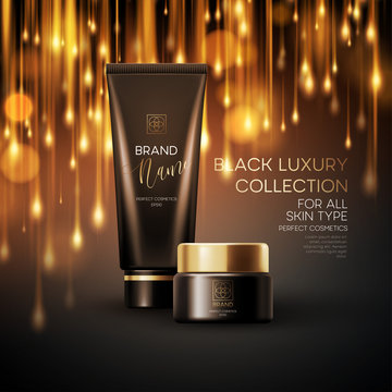 Cosmetics products with luxury collection composition on black blurred bokeh background. Vector illustration