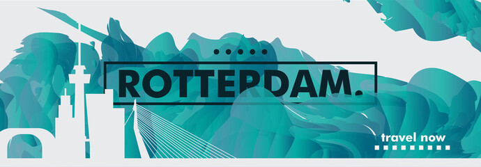 Netherlands Rotterdam skyline city gradient vector banner
