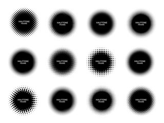 Round halftone shape frames. Black circles with dotted texture, dots gradient and circle shapes label frame vector set. Halftone label empty, spot gradient pattern round illustration