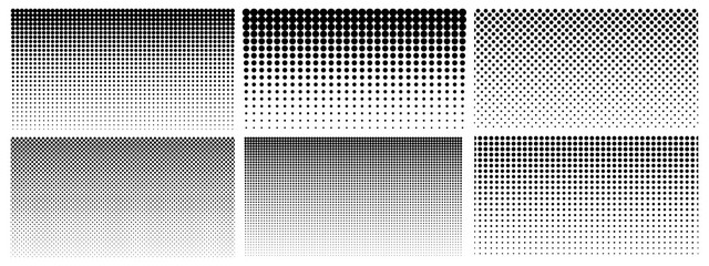 Halftone gradient. Dotted gradient, smooth dots spraying and halftones dot background seamless horizontal geometric pattern vector template set. Abstract dot gradient halftone pattern illustration Wall mural