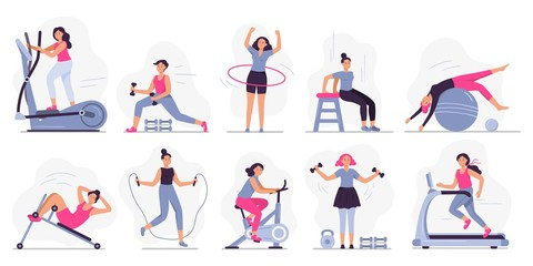 Woman at sport gym. Vector illustration set. Female run on treadmill, equipment for fitness in gym, workout people, training exercise collection Wall mural