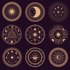 Mystic circle symbols. Vector illustration set. Astrology moon and pyramid, eclipse spirituality, freemasonry mysterious collection round emblems