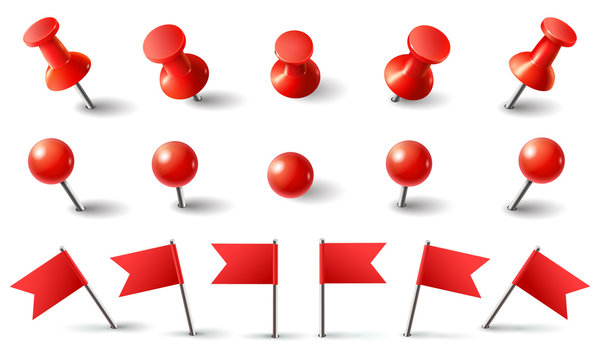 Red pushpin, flag and thumbtack. Isolated vector set. Red thumbtack, pushpin and needle marking, push button attach illustration