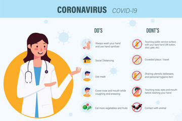 Coronavirus Infographic Vector Illustration What to Do and Dont