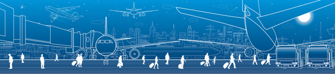 Wall Mural - Airport panorama. The plane is on the runway. Aviation transportation infrastructure. Airplane fly, people get on the aircraft. Night city on background, vector design art