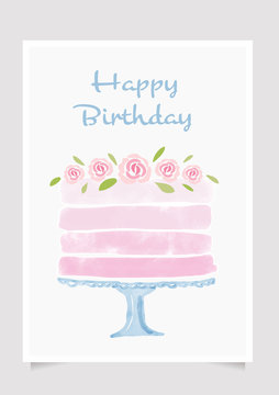 watercolor cake Happy birthday card template layout eps10 vectors illustration