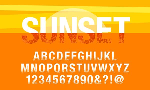 sunset font alphabet vector set typography