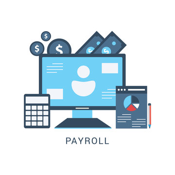 Payroll. Expenses, salary calculation concept. Flat design graphic elements, flat icons set