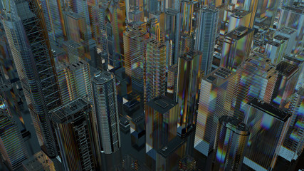 3d render of abstract city made of glass. Refractive, reflective transparent material. Wide angle camera