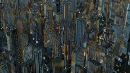 3d render of abstract city made of glass. Refractive, reflective transparent material.