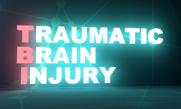 TBI - Traumatic Brain Injury acronym. Health concept background. 3D rendering. Neon bulb illumination