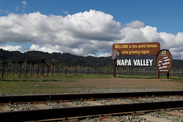 """A Napa Valley welcome sign sits next to a vineyard, prior to California's Governor Gavin Newsom's effective immediately statewide """"stay at home order"""", in the face of the fast-spreading pandemic coronavirus (COVID-19), outside of Napa, California"""