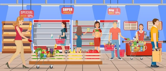 Customers people bying products in supermarket. grocery and consumerism concept. empty store shelves. Vector illustration in flat style