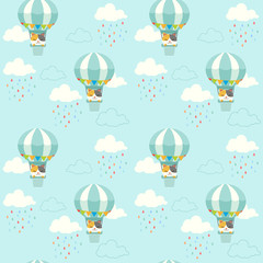 The seamless pattern of cute cat sitting in the hot air balloon on the sky. The pattern of cloud and rain drop. The character of cute cat in flat vector style.