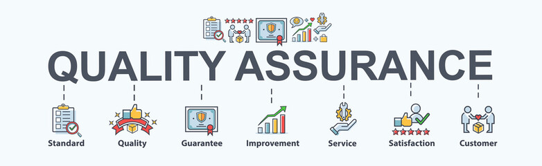 Quality assurance banner web icon for Business and industry, standard, quality, guarantee, service, improvement, satisfaction and customer. Minimal vector cartoon infographic.