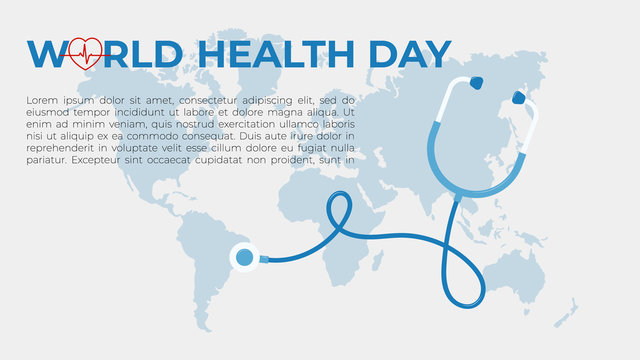 Template concept for web page on the theme of World Health Day