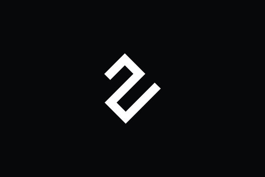Minimal elegant monogram art logo. Outstanding professional trendy awesome artistic Z ZU UZ initial based Alphabet icon logo. Premium Business logo in White color on black background