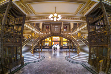 An interior view of the Postal Palace (Palacio Postal), a turn of the century post office in Mexico City, Mexico Fototapete